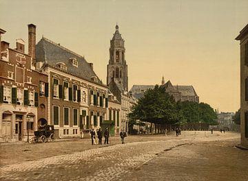 Arnhem grote markt, vintage foto van 1890-1900 van Atelier Liesjes