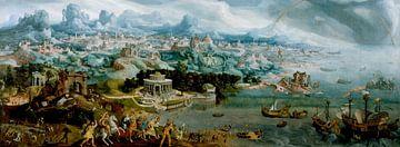Panorama mit der Entführung von Helena inmitten der Wunder der Antike, Maarten van Heemskerck