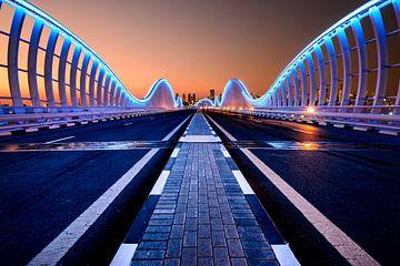 Beleuchtete Brücke Dubai von Michael Blankennagel