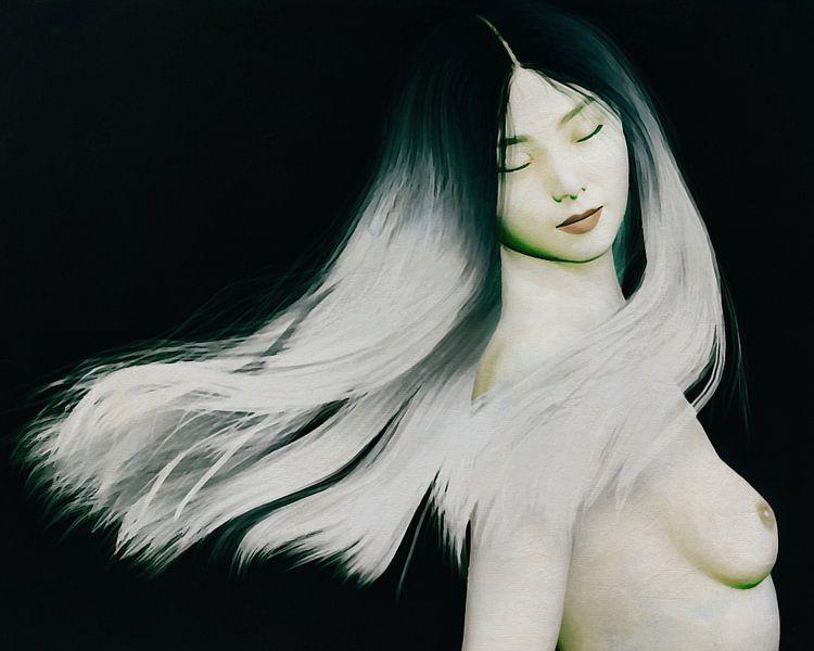 Femme nue debout dans les pensées sur Jan Keteleer