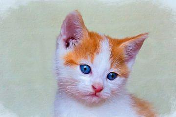 Abstract werk van een rood kitten von W J Kok