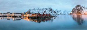Hamnoy, een Noors vissersdorpje in de ochtend