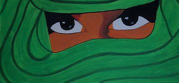 Verschleierte Frau in hellgrün van Babetts Bildergalerie