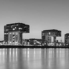 Köln Skyline schwarz-weiß von Michael Valjak
