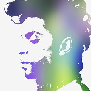 Prince Abstract Portret in Paars Groen Blauw van Art By Dominic