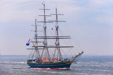 Clipper De Stad Amsterdam met de Kroonprins aan boord