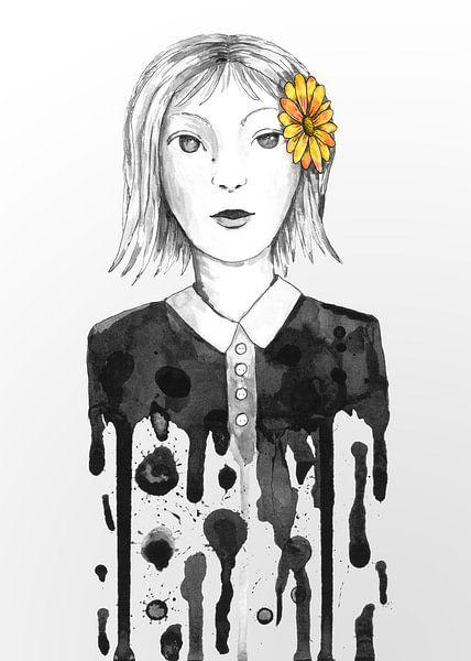 Druppel meisje met bloem van Bianca Wisseloo