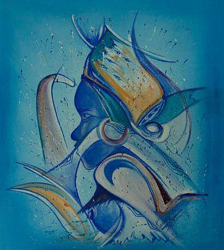 Vrouw in blauw van