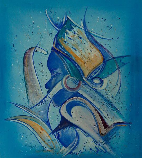 Vrouw in blauw van Cora Unk