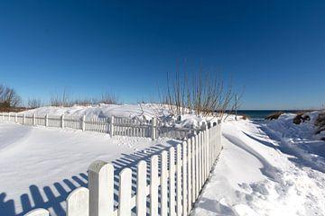 wit hek, besneeuwde duinen op het strand in Juliusruh, Rügen van GH Foto & Artdesign