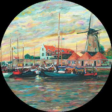 Schilderij van de haven, Zierikzee in Zeeland van Atelier Liesjes