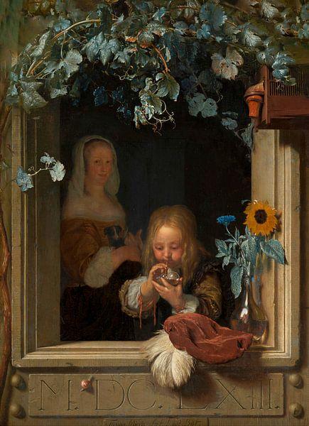 Blasenbildender Junge, Frans van Mieris (I) von Meesterlijcke Meesters