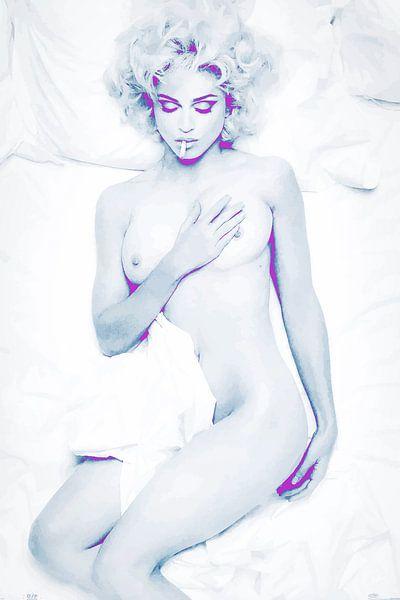Im Bett mit Madonna Abstrakt in Blau Weiß Rosa Violett von Art By Dominic