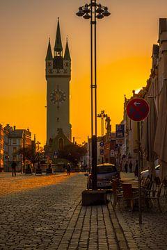Mooi avondlicht in de stad Straubing Stadtplatz van Thilo Wagner