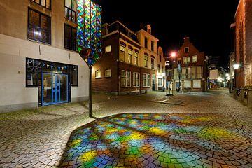 Trajectum Lumen kunstwerk bij Buurkerkhof in Utrecht sur Donker Utrecht