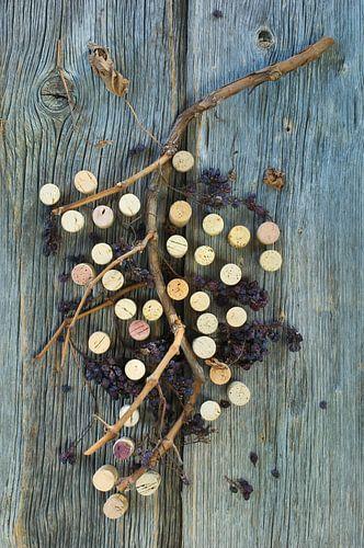 kurkenand gedroogde druiventakken op een houten oppervlak van