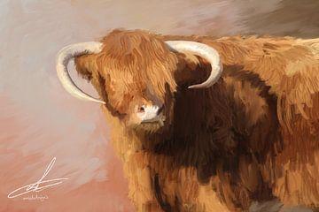 Digitales Kunstwerk - Schottischer Highlander - Ölgemälde von Emiel de Lange