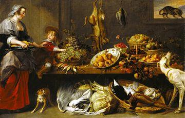Nature morte de cuisine avec une bonne et un jeune garçon, Frans Snyders &amp ; Jan Boeckhorst sur