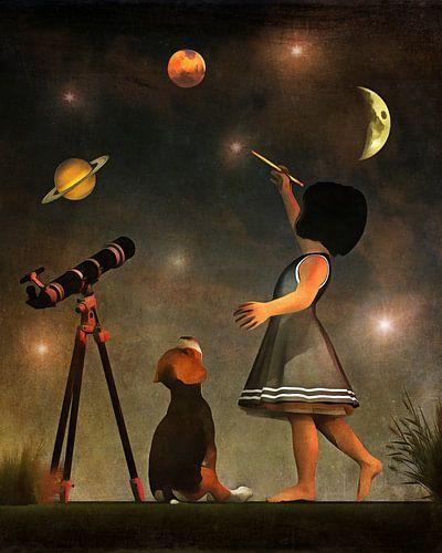Een puppy leert astronomie