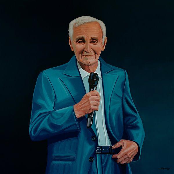 Charles Aznavour Painting van Paul Meijering