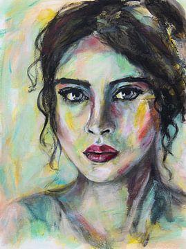 Buntes abstraktes Porträt einer Frau mit schwarzen Haaren von Bianca ter Riet