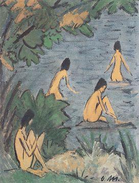 Landschap met badende vrouwen, naakt, Otto Mueller - ca 1915 van Atelier Liesjes