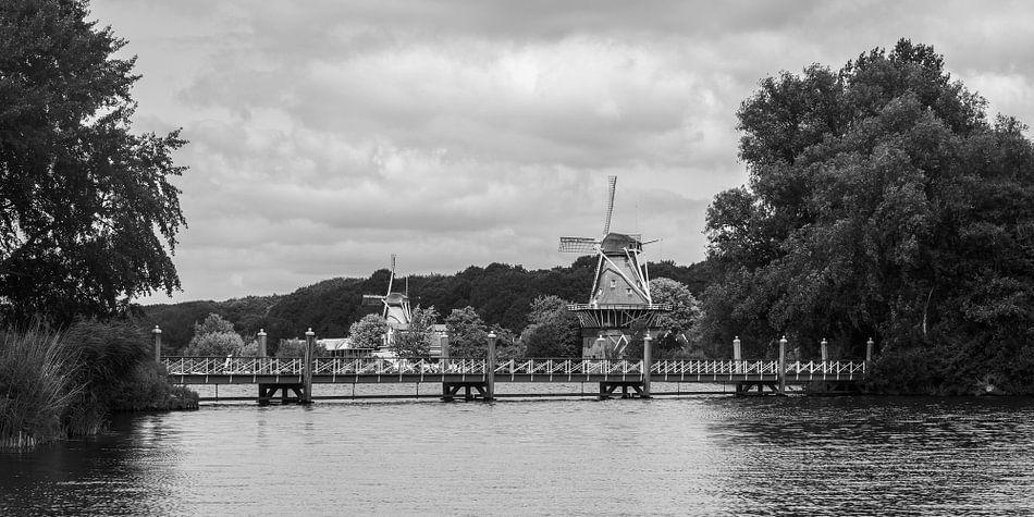 Molens De Lelie en De Ster aan de Kralingse Plas in Rotterdam