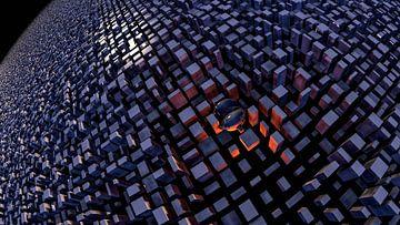 Eenzame glazen bol temidden van kubussen van W J Kok