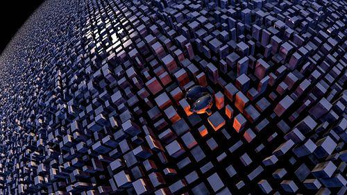 Eenzame glazen bol temidden van kubussen