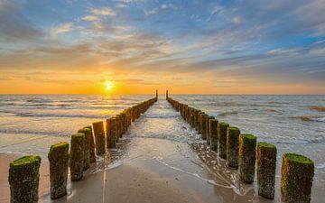 Zonsondergang aan het strand van Domburg
