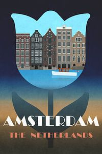 Amsterdam, affiche vintage avec maisons de canal dans une tulipe