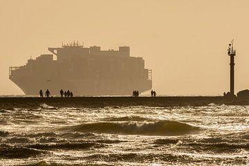 Containerschip te Nieuwe Waterweg van Peter Voogd