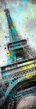 Modern Art Eiffelturm Splashes Nr. 3 | Panorama von Melanie Viola