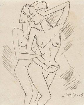 Twee vrouwelijke naakten, Dorothea Maetzel-Johannsen, 1919 van Atelier Liesjes