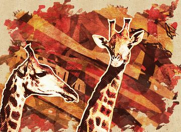 Abstracte giraffes von Nannie van der Wal