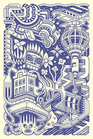 Fantasie Doodle 4 van Simon van Kessel