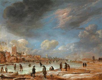 Blick auf Fluss im Winter - Aert van der Neer