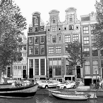 Aquarell-Zeichnung Heren 51-65 Amsterdam von Hendrik-Jan Kornelis