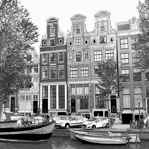 Pen Aquarel Tekening Herengracht 51-65 Amsterdam