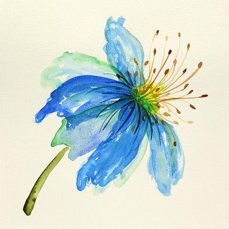 Tropische blauwe bloem van Natalie Bruns