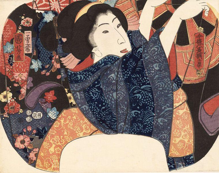 Luchten van kleding in de zomer, Utagawa Kuniyoshi van 1000 Schilderijen