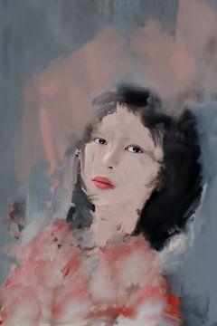 Portret van Aziatische vrouw van Carla Van Iersel