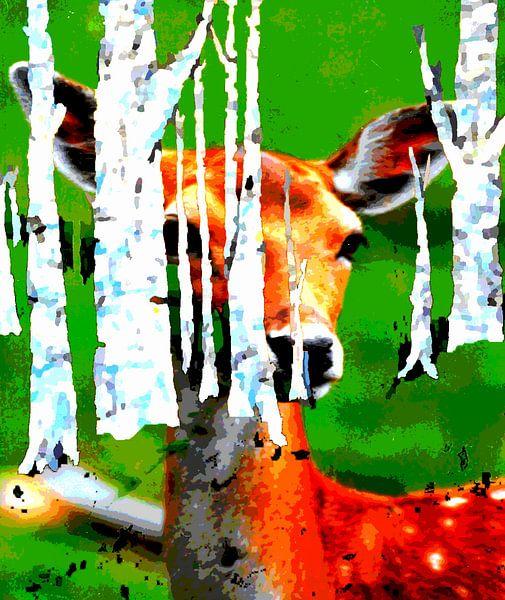 Red deer van Eberhard Schmidt-Dranske