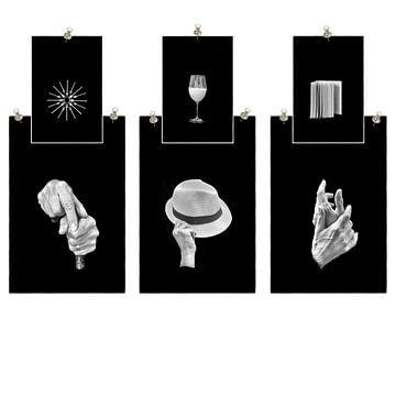 Collage handen en hun betekenis in zwart wit van Marianne van der Zee