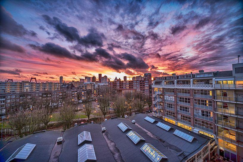 Zonsondergang over Rotterdam HDR van Pieter van Roijen