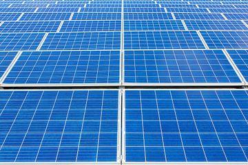 Symmetrisch veld van rijen blauwe zonnepanelen van Ben Schonewille