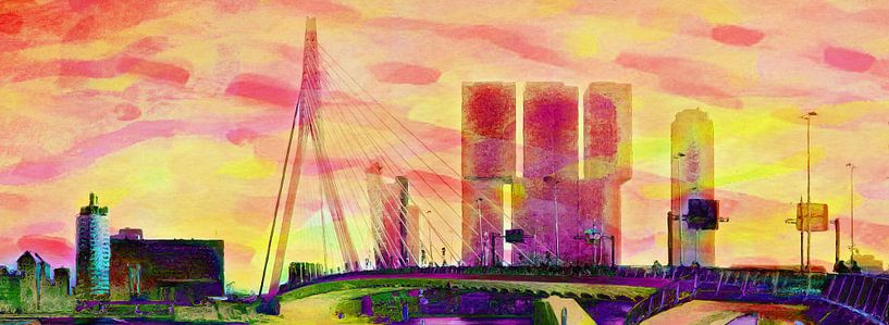 Erasmusbrug met Rotterdam Vibrant van Frans Jonker