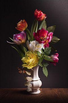 Flower still life Colorful Tulips van Sandra Hazes