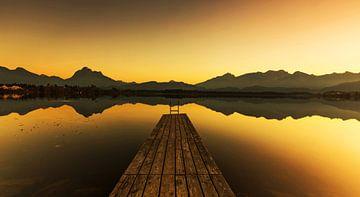 Bootssteg am See zum Sonnenuntergang von Frank Herrmann