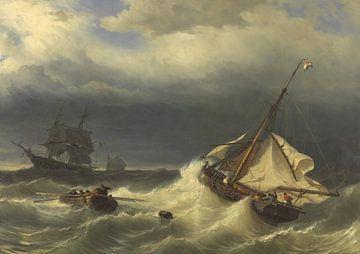 Schepen op zee bij stormachtig weer, Louis Meijer sur